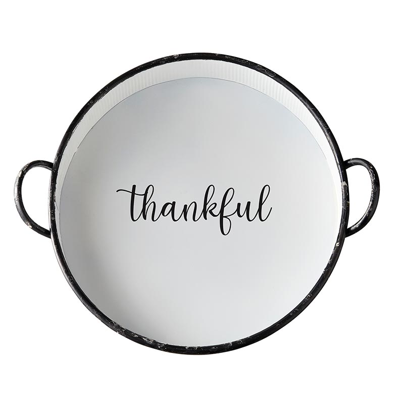 AMR538 - Set of 2 - Metal Round Tray - Thankful by CBGifts