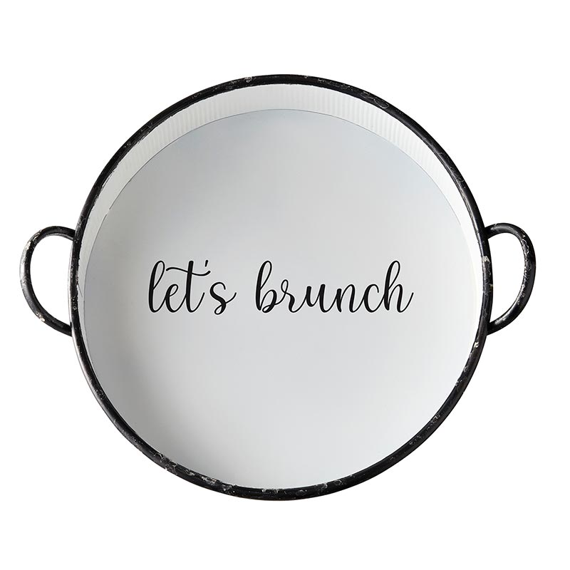 AMR540 - Set of 2 - Metal Round Tray - Lets Brunch by CBGifts