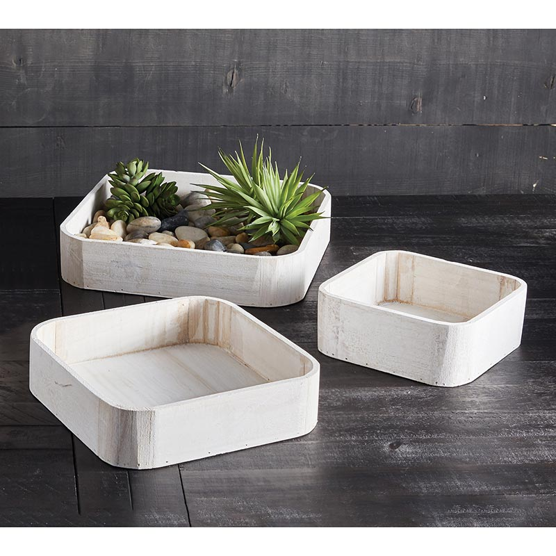 AMR599 - Rustic Square Wooden Tray - 3 pieces by CBGifts
