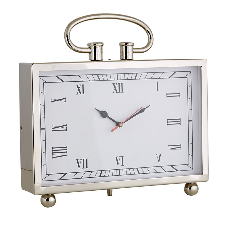 MR712 - Set of 2 - Large Desk Clock - Nickel by CBGifts